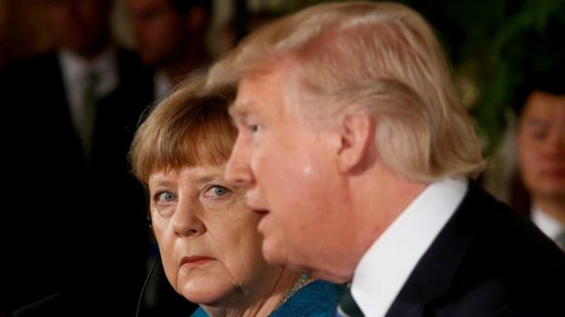 German Chancellor Angela Merkel and US President Donald Trump hold a joint news conference in the White House in Washington, 17 March 2017