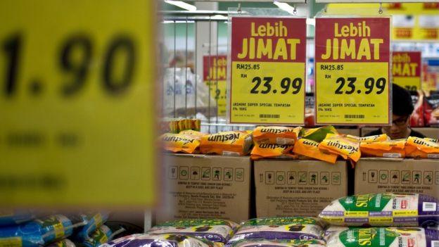 吉隆坡某超市內稻米區的價錢標示(9/5/2015)