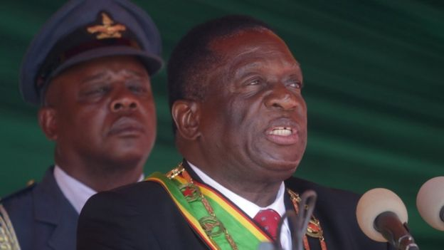 President Emmerson Mnangagwa speaking at an event in Zimbabwe