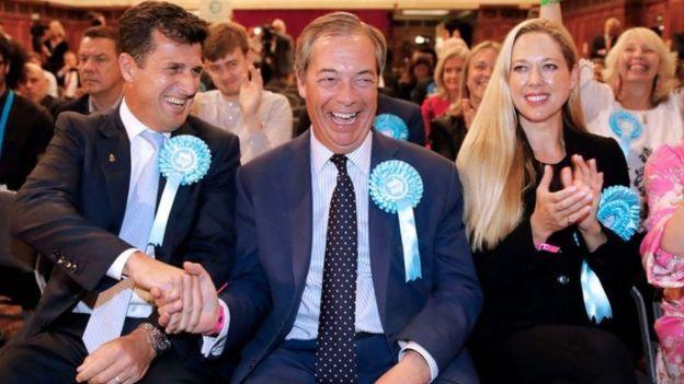 Liderliğini Nigel Farage'ın (ortada) yaptığı Brexit Partisi AP seçiminde İngiltere'de en çok oy alan parti oldu.