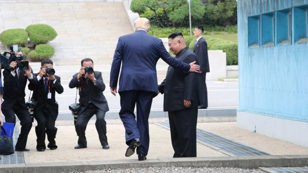 Trump crossing the line between South Korea and North Korea
