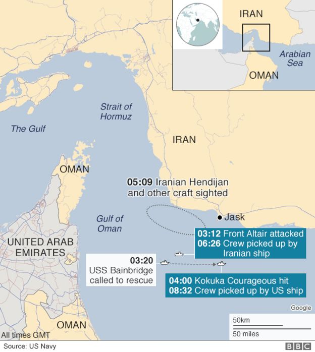 Map of tanker attacks incident