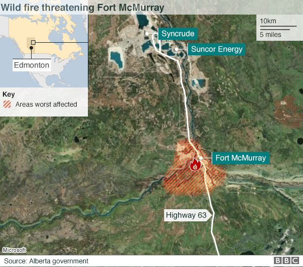 A map showing the spread of a wildfire in Canada
