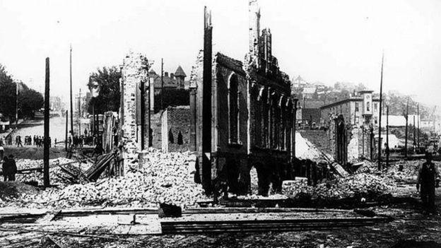 Secuelas del gran incendio de Seattle, estado de Washington, en 1889