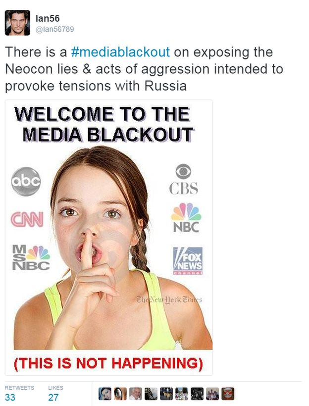 there is a media blackout on neocon lies and acts of aggression intended to provoke tensions with Russia