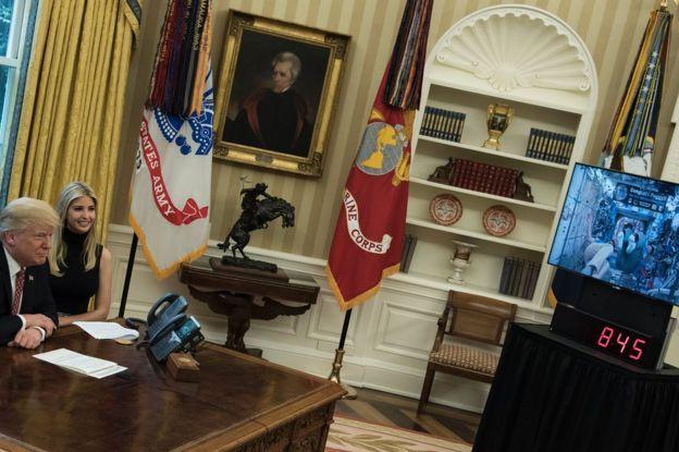 Donald Trump y su hija Ivanka en una teleconferencia en abril de 2017
