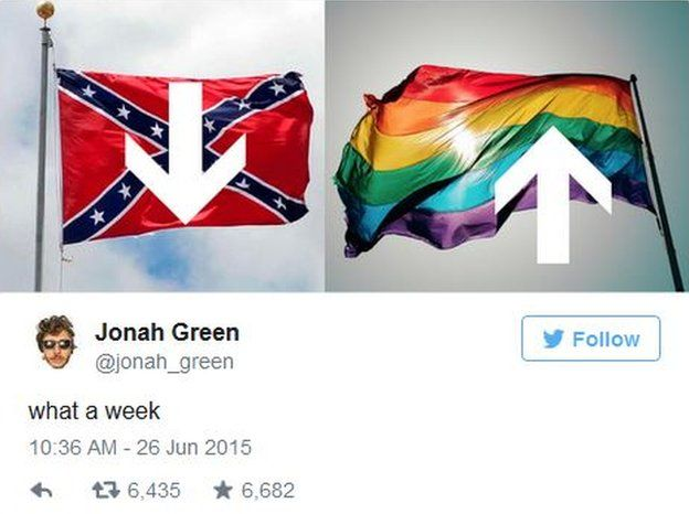 Jonah Green tweets that the Confederate flag is on the way down while the gay rights flag is flying high.
