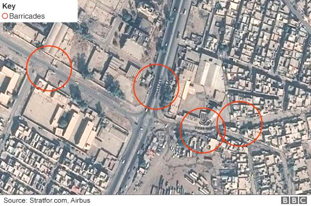 Satellite image showing barricades in Wadi Hajar, Mosul