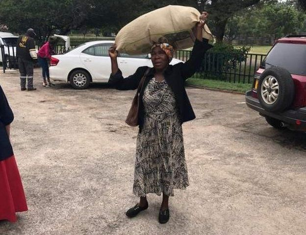 Donation woman in Harare