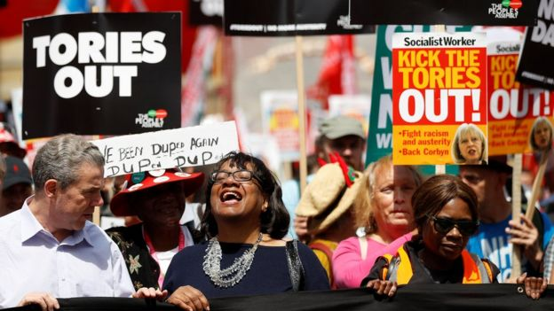 Labour's Diane Abbott joins anti-government protest in London.