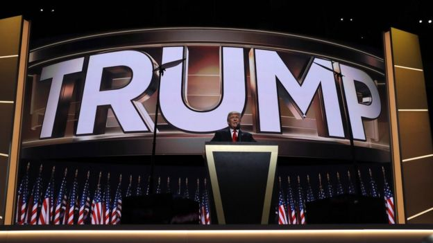 Donald Trump on stage