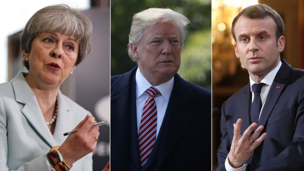 UK Prime Minister Theresa May US President Donald Trump and French President Emmanuel Macron