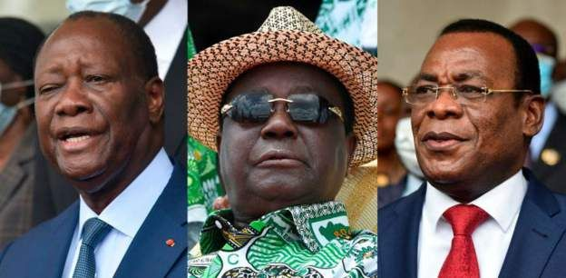 From left to right: Alassane Ouattara Henri Konan Bédié, Pascal Affi N'Guessan