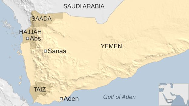 Map of Yemen showing location of Abs