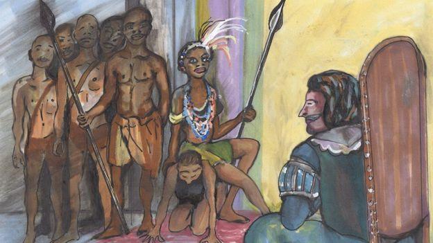 Njinga sentada sobre la espalda de su sirvienta para negociar con el gobernador portugués en Luanda a la misma altura.