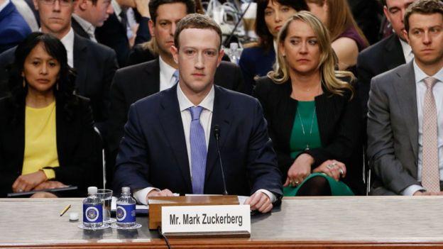 Mark Zuckerberg, fundador de Facebook, interrogado por un comité del Congreso de EE.UU., abril de 2018