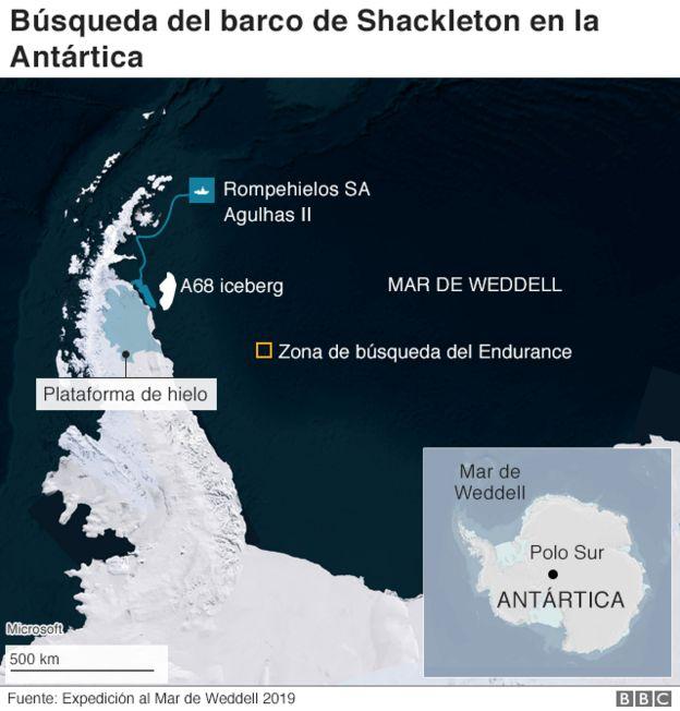 Gráfico que muestra el Mar de Wedell y la zona de búsqueda del Endurance