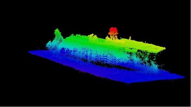 La parte trasera del portaaviones USS Saratoga.