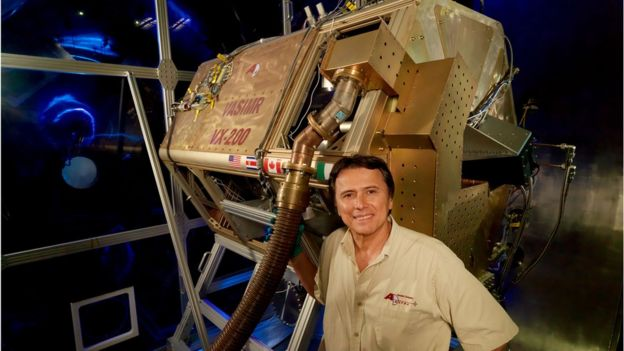 Franklin Chang Diaz with the Vasimr rocket engine