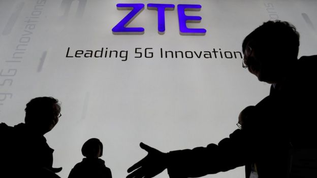 ZTE Corp booth at the Mobile World Congress in Barcelona, Spain, February 26,