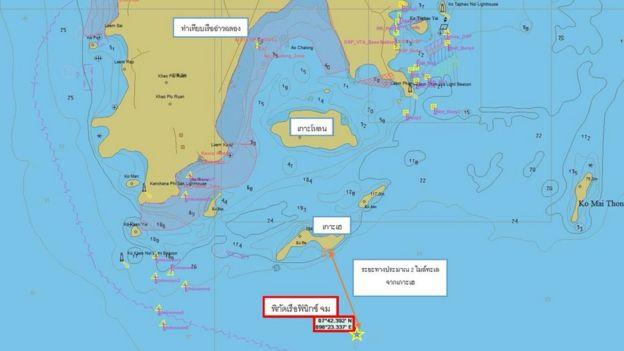 """แผนที่แสดงตำแหน่งที่คาดว่าเรือ """"ฟีนิกซ์"""" จมลง"""