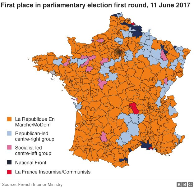 La France Map.France Election Macron Party Set For Big Parliamentary Win Bbc News