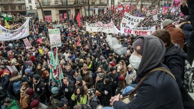 Public and private workers demonstrate and shout slogans during a demonstration against pension reforms Paris,