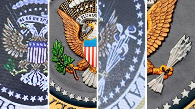 美国国徽内白头鹰左边抓着代表美国立国初时13个州份的13支箭,右边抓着代表和平的橄榄枝。但在这个恶搞版国徽,双头鹰左边抓着一些哥尔夫球棒,右边就抓着一些美元纸币。