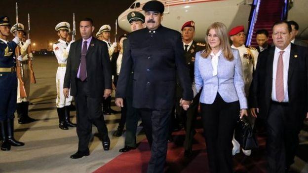 Nicolás Maduro a su llegada a Pekín.