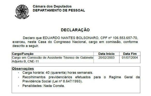 registro do departamento pessoal da Câmara do cargo que eduardo ocupou