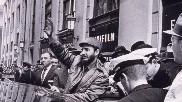Fidel Castro na Penn Station, em Nova York, em 1959