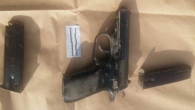 A photo of the gun used by the attacker, released by Israeli police