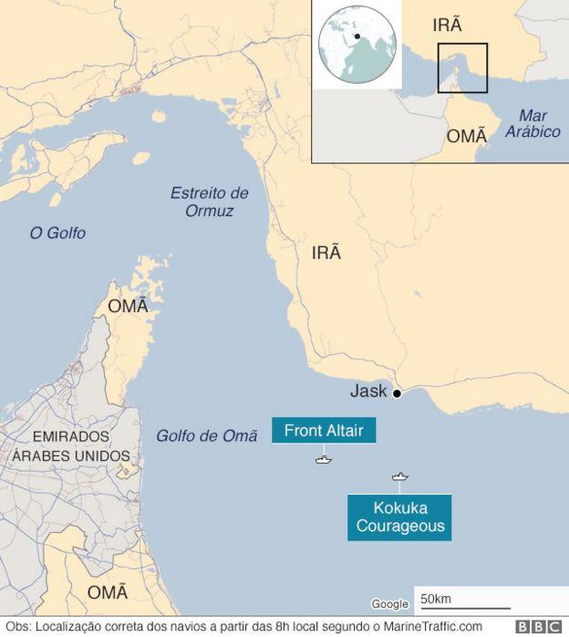Mapa de localização onde petroleiros foram atingidos no estreito do Ormuz