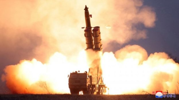 Projectile being fired from a mobile launcher in North Korea - undated image via KCNA