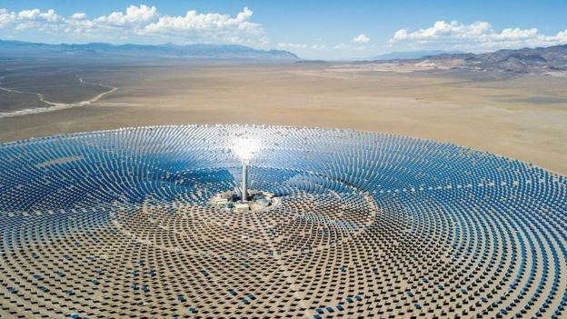 Spectacular aerial view of a solar thermal power plant station in Nevada desert, USA.