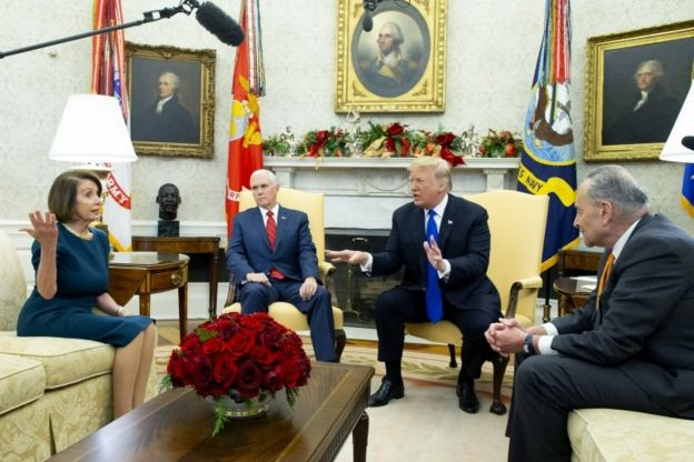 Nancy Pelosi, Mike Pence, Donald Trump y Chuck Schumer