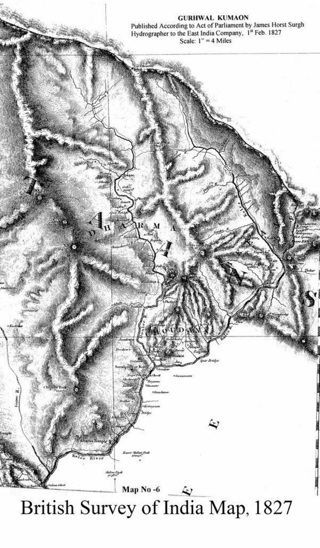 सन् १८२७ मा ब्रिटिश इन्डियाले जारी गरेको कालापानी क्षेत्रको नेपालको सीमा