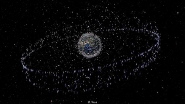 Sampah di antariksa mulai dari sekecil bintik cat sampai satelit yang sudah tak dipakai.