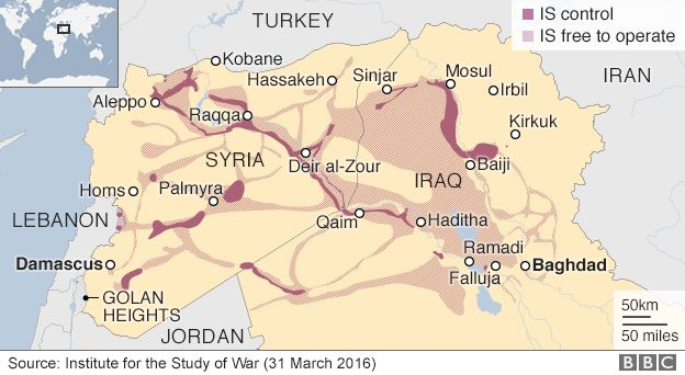 Map showing areas controlled by the Islamic State group - 31 March 2016