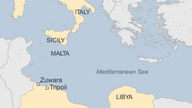 Migrant crisis libya searches for more bodies bbc news map showing libya italy malta and sicily publicscrutiny Images