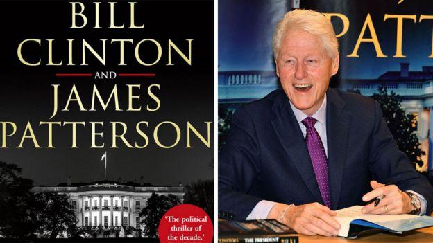 Обложка новой книги и Билл Клинтон, ее подписывающий