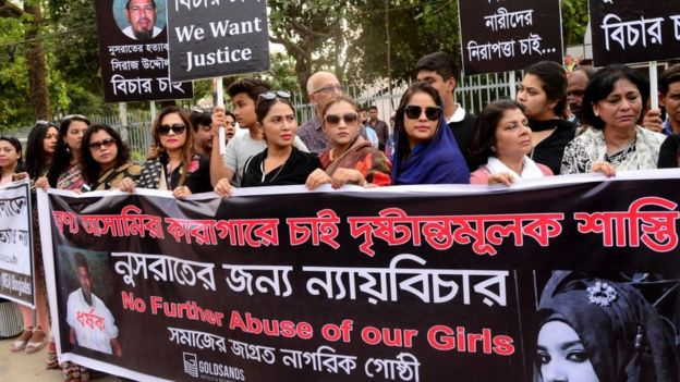 Bangladeshi women held a protest rally of girl student Nusrat Jahan Rafi in Dhaka