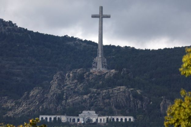 The Valley of the Fallen, carved into a mountain and with a huge cross