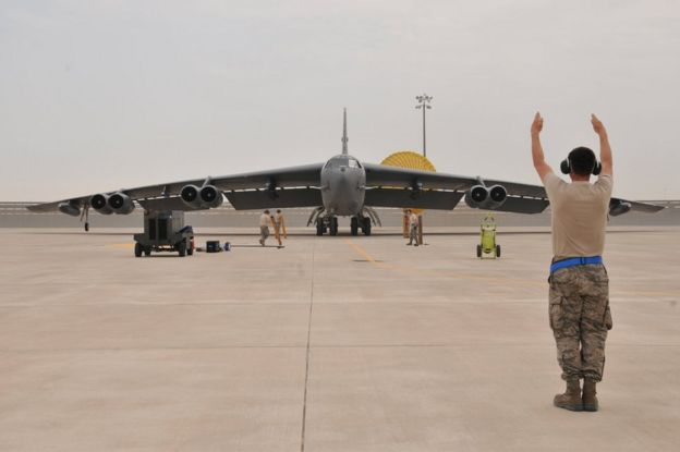 A US air force B-52 Stratofortress bomber arrives at Al Udeid Air Base, Qatar, 9 April 2016