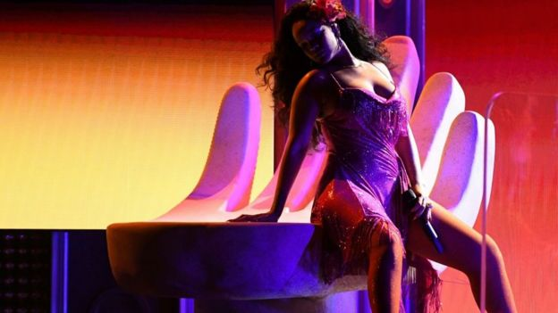 Rihanna, lors de sa prestation le 28 janvier 2018 au Grammy Awards.