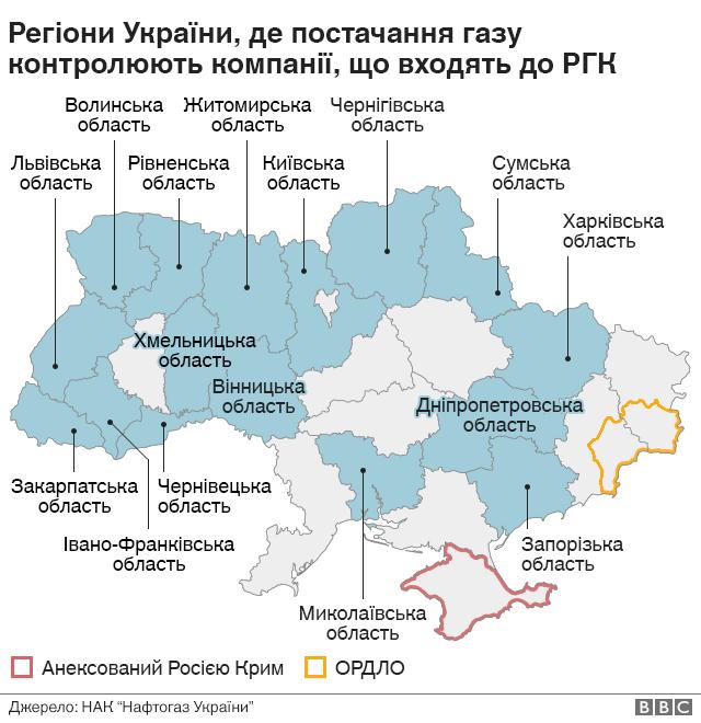 Регіони, де постачання газу населенню контролює РГК