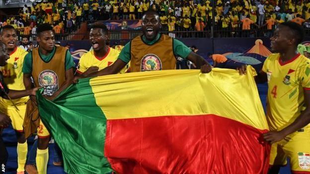 Wachezaji wa Benin wakisherehekea ushindi wao dhidi ya Morocco