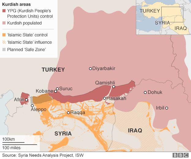 Map: Kurdish regions in Turkey, Iraq and Syria