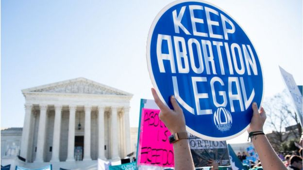 Abortion rights supporters at the US Supreme Court