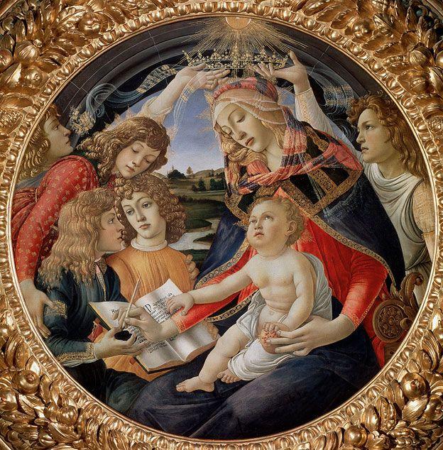 Lorenzo Medici sosteniendo el tintero mientras su hermano Giuliano sostiene el libro, para la Virgen María, coronada por dos ángeles, y el Niño Jesús con una granada en la mano, símbolo de la resurrección, en
